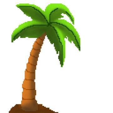 Pixel 8 bit drawn palm tree on sandy beach