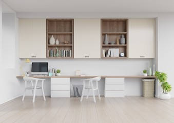 Front view of an working interior with white wall empty room,minimal design,3d rendering
