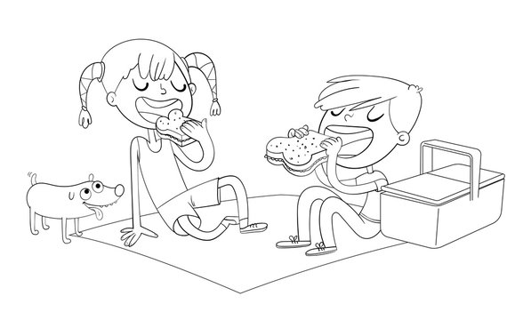 Boy and girl with puppy eating sandwiches on picnic. Coloring book