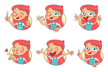 Girl in different situations. Funny grimace