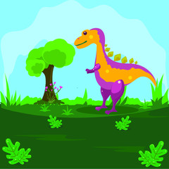 Illustration of a dinosaur on a green land with a blue sky background