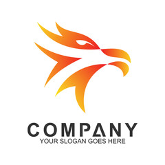 fire eagle head logo design