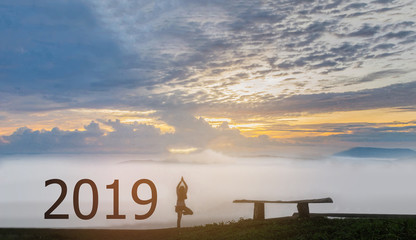 The abstract silhouette the 2019 with woman stand exercise yoga,the beautiful sky mountain view by beam light and lens flare effect tone background.