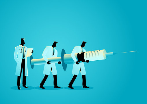 Team of doctors carrying giant needle. Anesthesiology Concept
