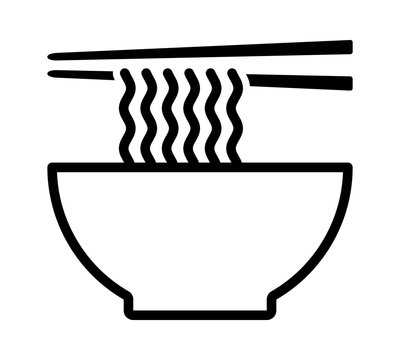 Ramen noodle soup bowl with chopsticks line art vector icon for food apps and websites
