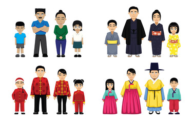 Asian Families Set Cartoon Vector Illustration