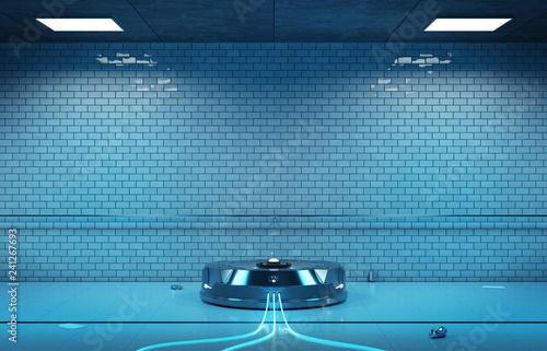 Interface hologram projector in dark underground 3d rendering