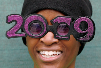 A U.S. soldier poses for a picture during a New Year celebration at the Resolute Support headquarters in Kabul