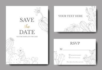 Vector Green cactus floral botanical flower. Engraved ink art. Wedding background card floral decorative border.