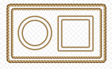Rope frame set isolated on transparent background. Vector realistic texture string, jute, thread or cord borders pattern.