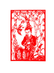 Chinese paper-cut works on white background, China