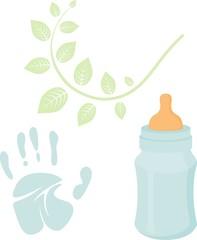 Little man baby shower related items collection. Newborn set. Baby boy elements, handprint, baby nursing bottle. Raster blue scrapbook decor, greeting birthday postcard