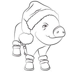 pig wearing santa hat, outline icon editable stroke