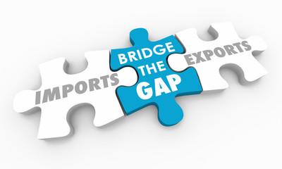Imports Vs Exports Bridge the Gap Puzzle Pieces 3d Illustration