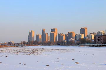 urban snow scene