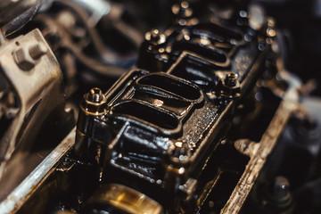 engine valve in oil