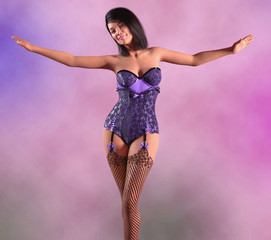 Attractive woman in burlesque clothes