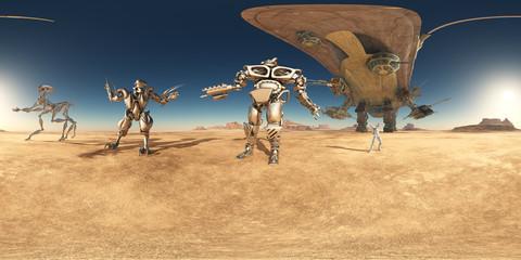 360 Grad Panorama mit Robotern und Raumschiff