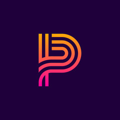 Letter P Line curve colorful logotype, beauty and fashion cosmetics logo vector design template element for corporate identity application or company