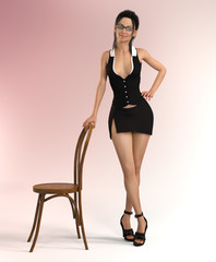 Attractive woman in sexy clothes is holding on to a chair