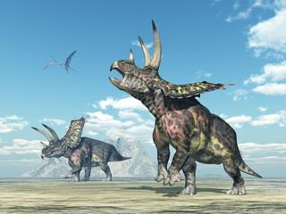 Dinosaurier Pentaceratops in einer Landschaft