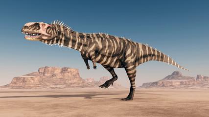 Dinosaurier Rajasaurus in der Wüste