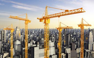 Baukräne vor Hochhäusern