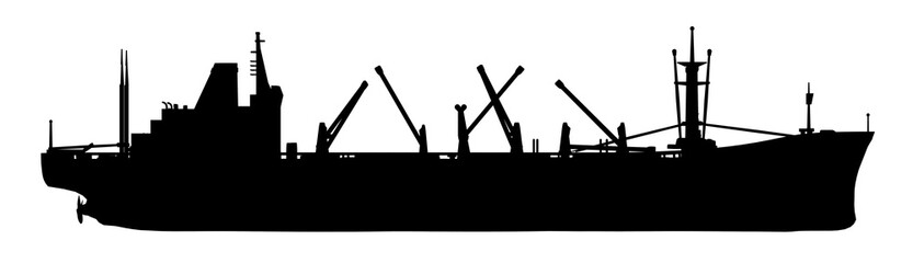 Silhouette of a cargo ship