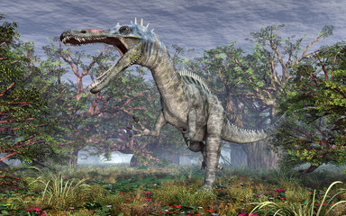 Dinosaur Suchomimus in the forest