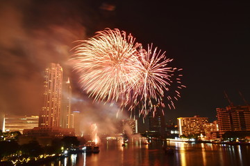 new year celebration fireworks on Cho Phraya river in Thailand