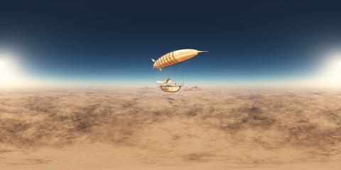 360 Grad Panorama mit einem Fantasie Luftschiff über einer Wüstenlandschaft
