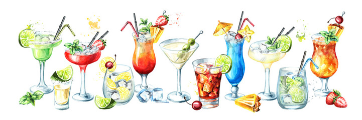 Cocktail party banner. Watercolor hand drawn illustration,  isolated on white background