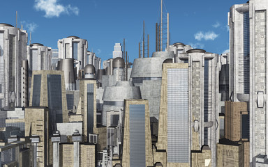 Stadtansicht mit futuristischen Wolkenkratzern