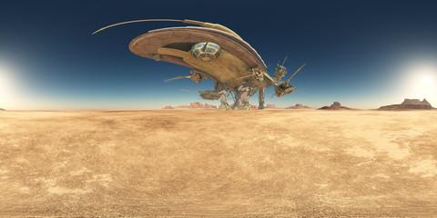 360 Grad Panorama mit einem riesigen Raumschiff in einer Wüste