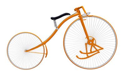 Antikes Fahrrad mit Fußhebel, Freisteller