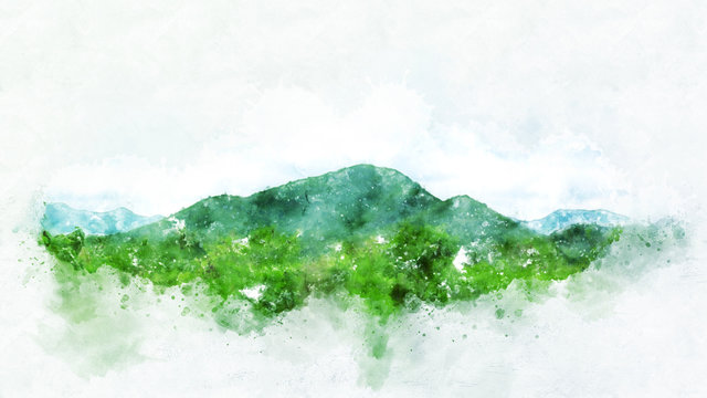 Abstract Mountain hill on watercolor painting background.