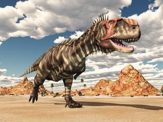 Dinosaur Rajasaurus in the desert