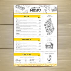 Vintage fast food menu design.