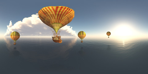 Spherical 360 degrees seamless panorama with fantasy hot air balloons over the sea