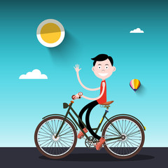 Man on Bike. Sunny Day with Boy on Bicycle Vector Illustration.