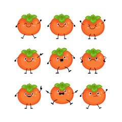Cute persimmon characters set  with different emitions vector il