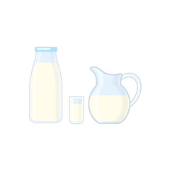 Bottle, glass and jug with milk vector illustration isolated on