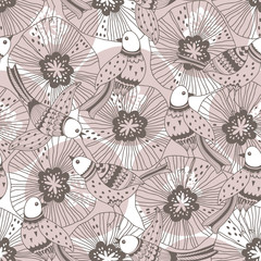 Seamless pattern with birds and flowers on a white background. Hand-drawn vector illustration. Cartoon nature background.