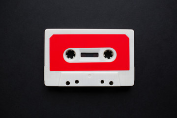 Close-up of audio cassette illustration with blank mockup for design.