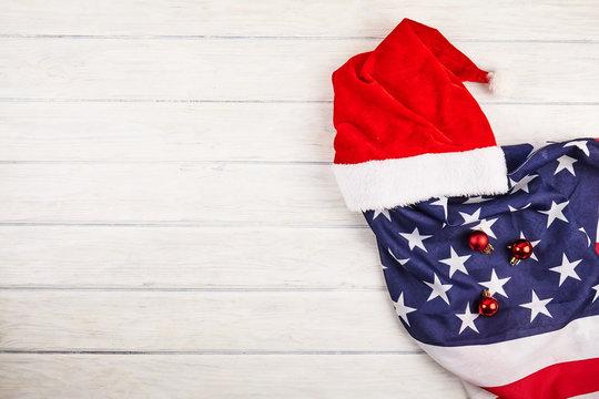 Santa hat with american flag