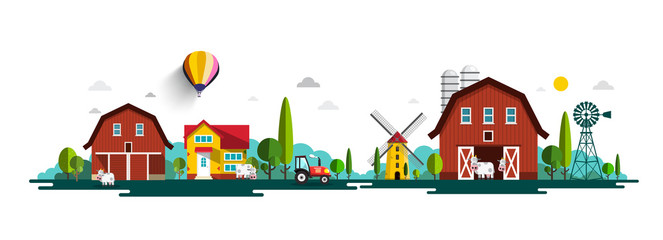 Rural Vector Landscape Panorama with Barn, Houses, Windmills and Tractor Wall mural