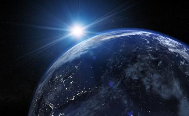Erde - Weltall mit Sonne (Sonnensystem blaue Farbe) dunkelheit