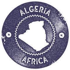 Algeria map vintage stamp. Retro style handmade label, badge or element for travel souvenirs. Deep purple rubber stamp with country map silhouette. Vector illustration.