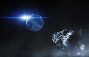 Erde mit Asteroid - Weltall mit Sonnenaufgang (Universum)