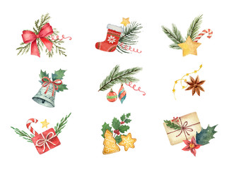 Watercolor vector set with Christmas elements isolated on white background.
